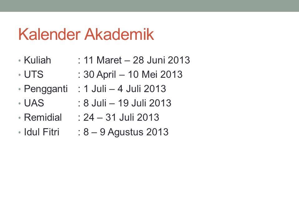 Kalender Akademik Kuliah: 11 Maret – 28 Juni 2013 UTS: 30 April – 10 Mei 2013 Pengganti : 1 Juli – 4 Juli 2013 UAS: 8 Juli – 19 Juli 2013 Remidial: 24