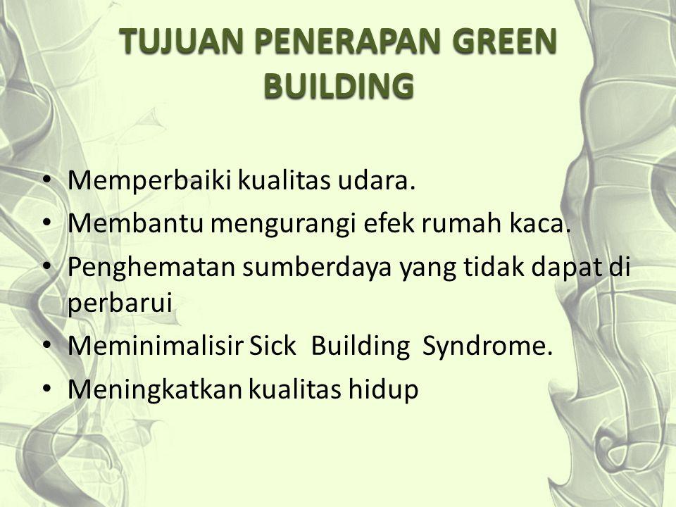 TUJUAN PENERAPAN GREEN BUILDING Memperbaiki kualitas udara. Membantu mengurangi efek rumah kaca. Penghematan sumberdaya yang tidak dapat di perbarui M