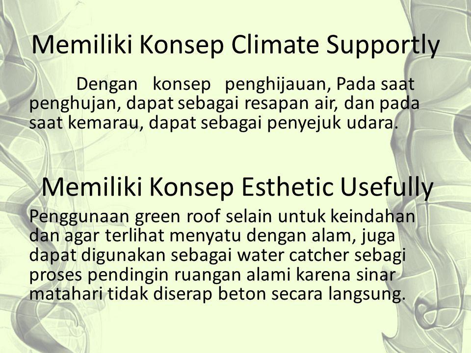 Memiliki Konsep Climate Supportly Dengan konsep penghijauan, Pada saat penghujan, dapat sebagai resapan air, dan pada saat kemarau, dapat sebagai peny