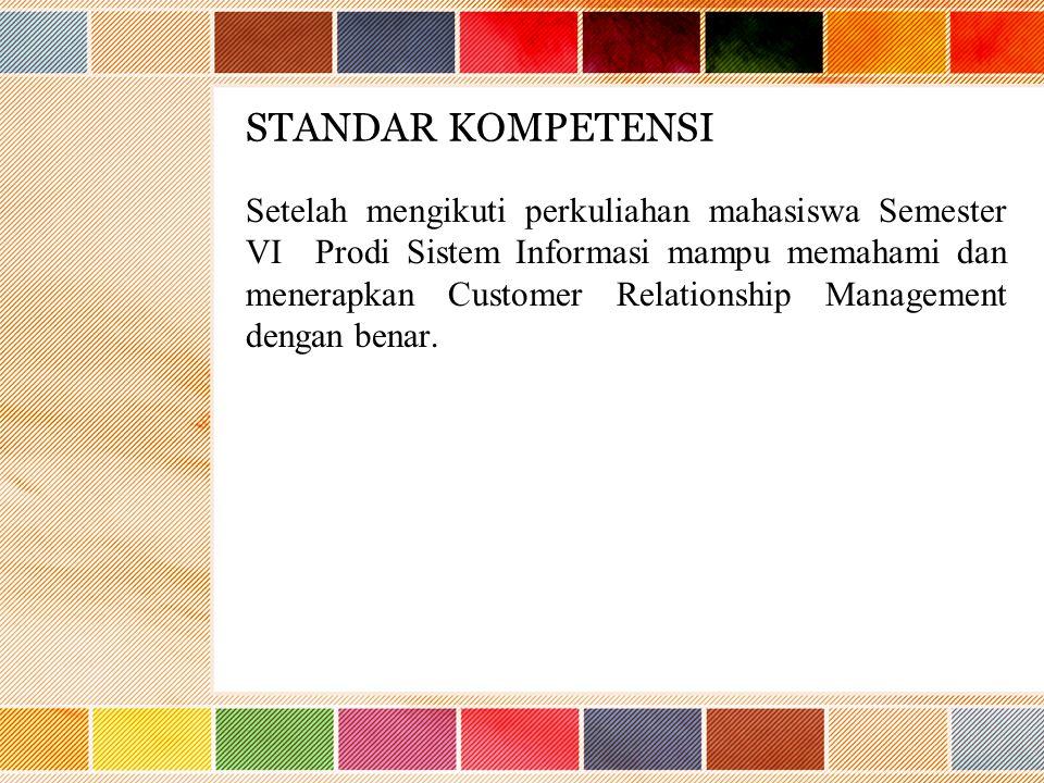 STANDAR KOMPETENSI Setelah mengikuti perkuliahan mahasiswa Semester VI Prodi Sistem Informasi mampu memahami dan menerapkan Customer Relationship Management dengan benar.