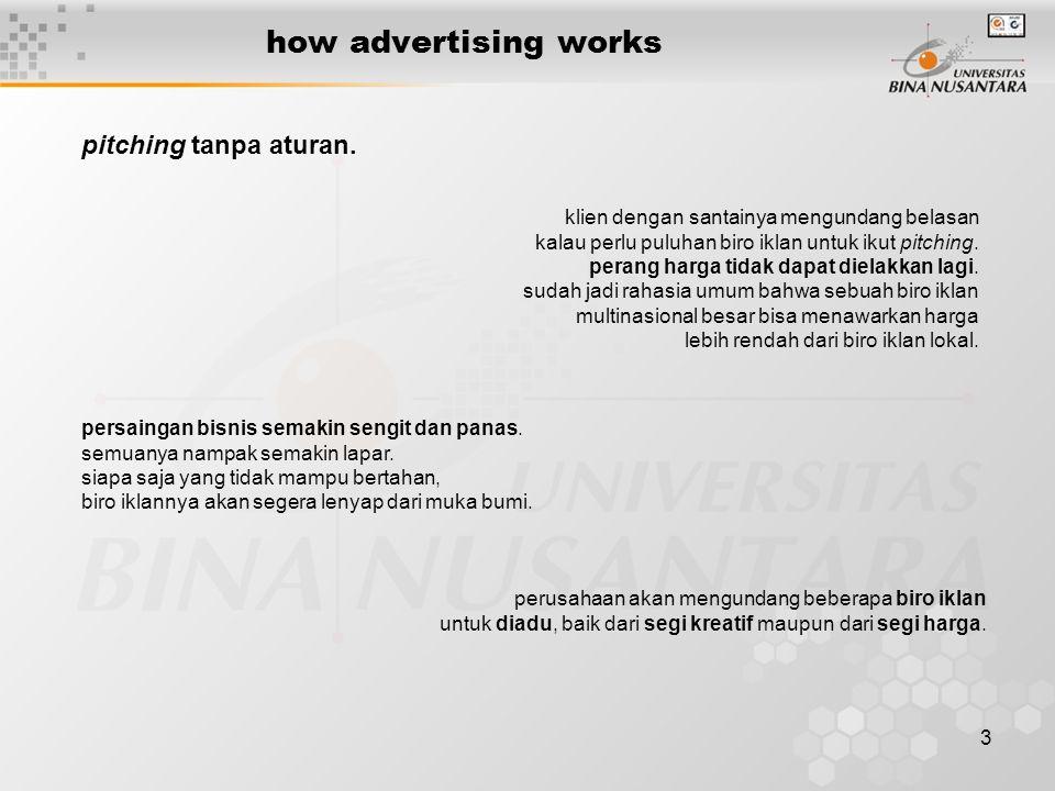 3 how advertising works persaingan bisnis semakin sengit dan panas. semuanya nampak semakin lapar. siapa saja yang tidak mampu bertahan, biro iklannya