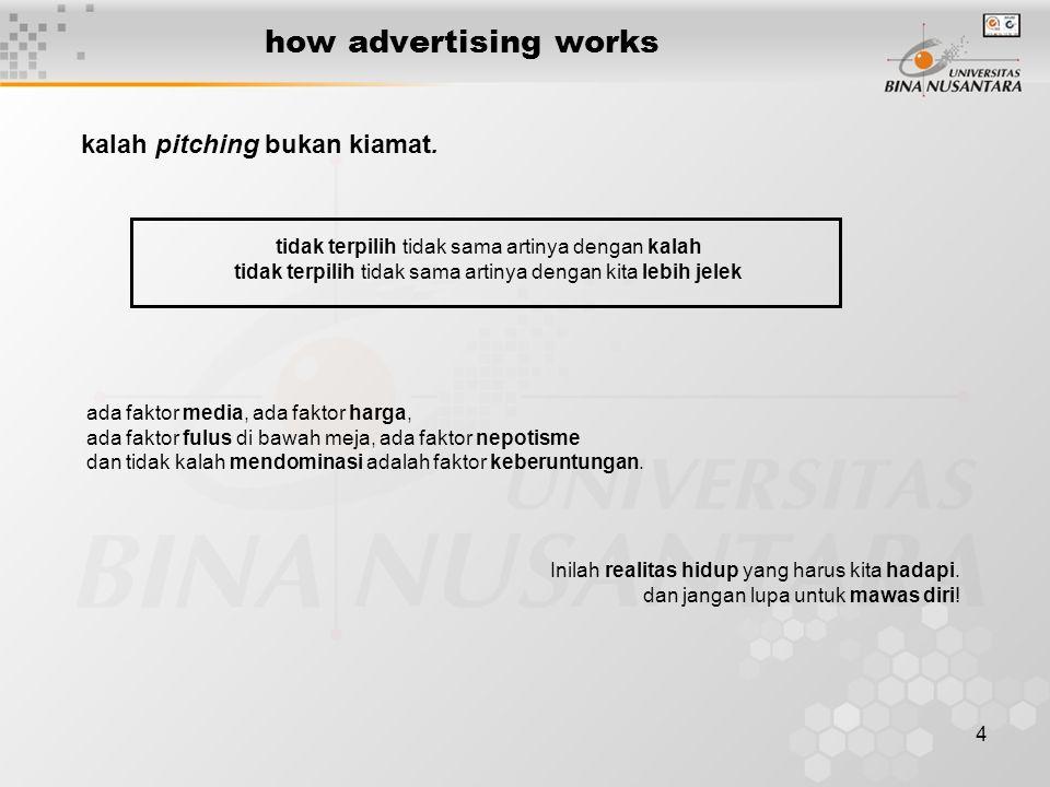 4 how advertising works kalah pitching bukan kiamat. ada faktor media, ada faktor harga, ada faktor fulus di bawah meja, ada faktor nepotisme dan tida