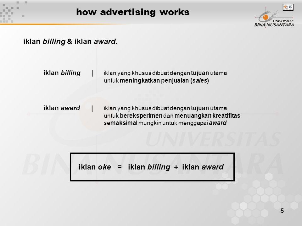 5 how advertising works iklan billing & iklan award. iklan billing | iklan yang khusus dibuat dengan tujuan utama untuk meningkatkan penjualan (sales)