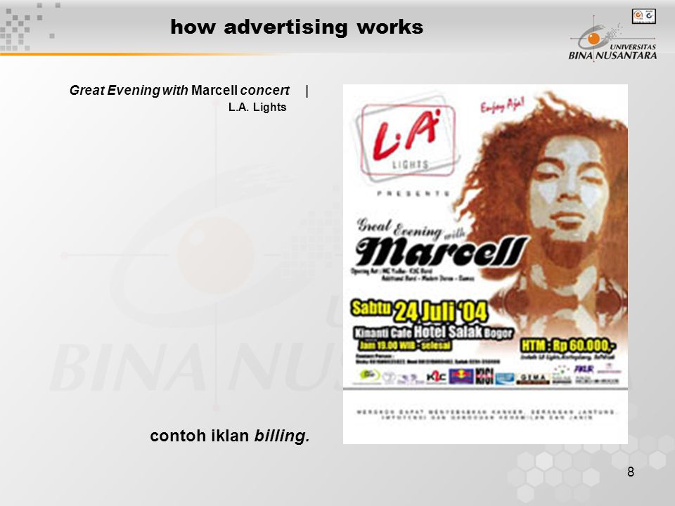 8 how advertising works Great Evening with Marcell concert | L.A. Lights contoh iklan billing.
