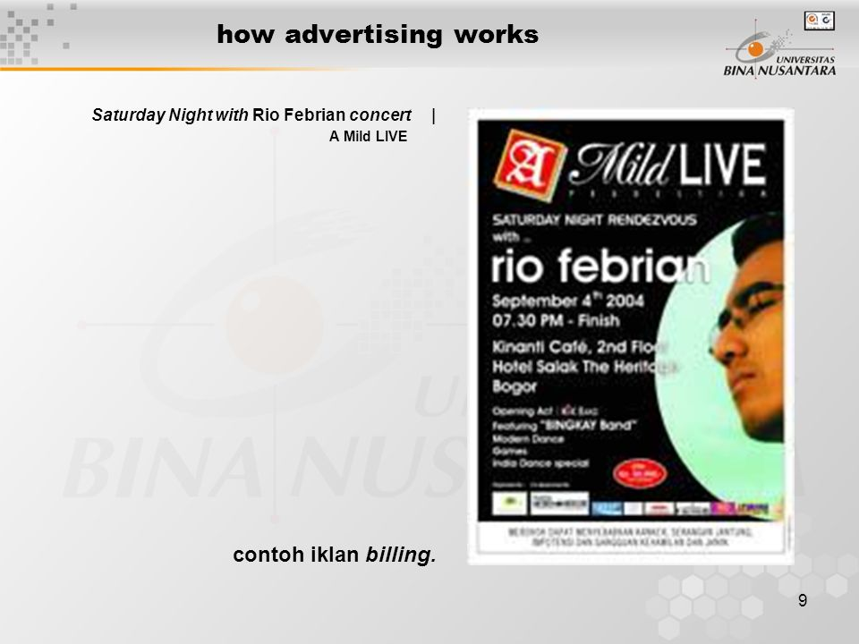 9 how advertising works Saturday Night with Rio Febrian concert | A Mild LIVE contoh iklan billing.