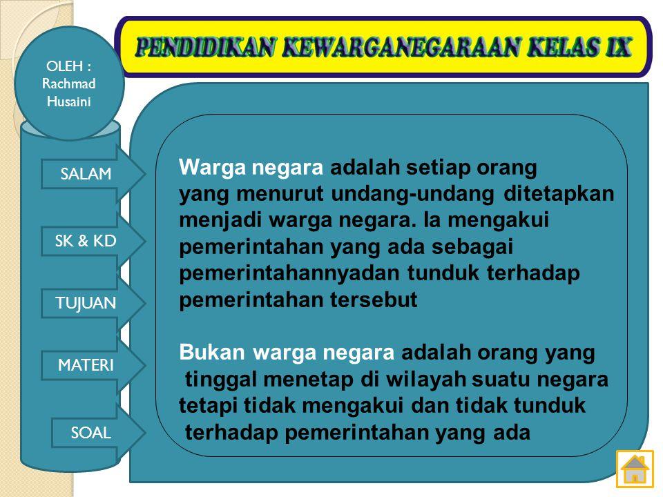 SALAM SK & KD TUJUAN MATERI SOAL OLEH : Rachmad Husaini Rakyat adalah setiap orang yang tinggal di wilayah suatu negara Penduduk adalah setiap orang yang tinggal di wilayah suatu negara dan memilki tempat tinggal tetap.