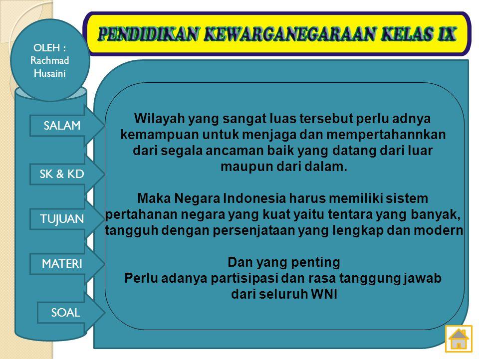 SALAM SK & KD TUJUAN MATERI SOAL OLEH : Rachmad Husaini Wilayah Negara Indonesia