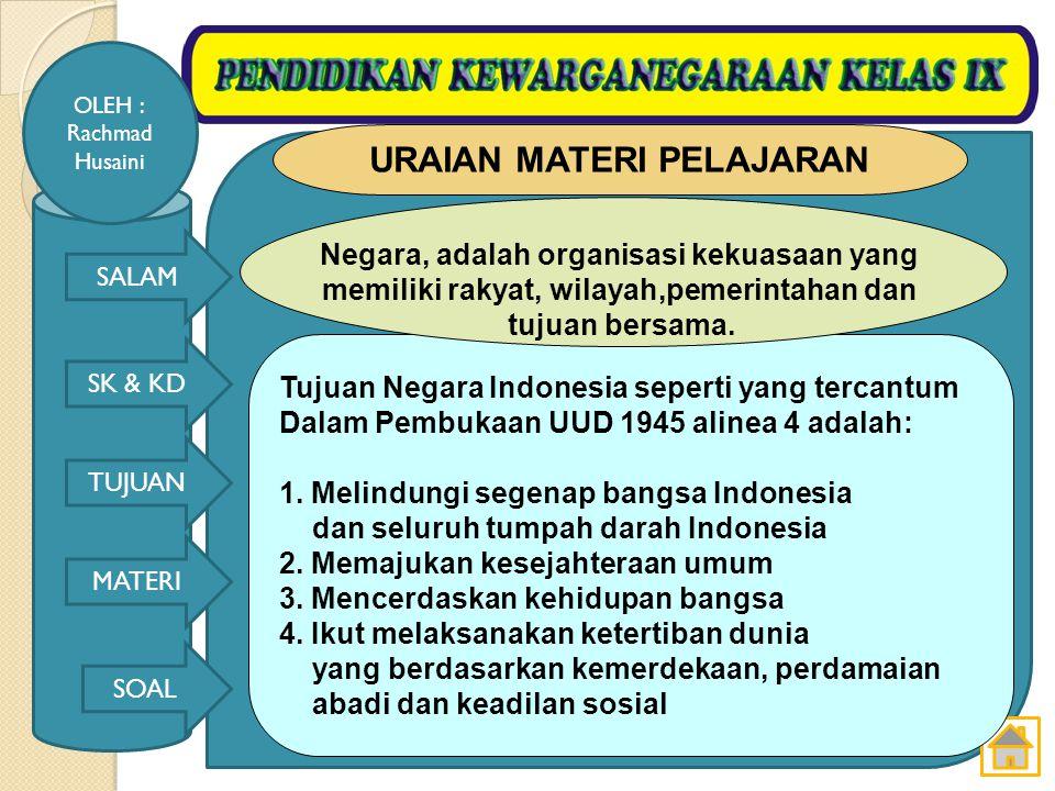 SALAM SK & KD TUJUAN MATERI SOAL OLEH : Rachmad Husaini Tujuan pembelajaran: 6.