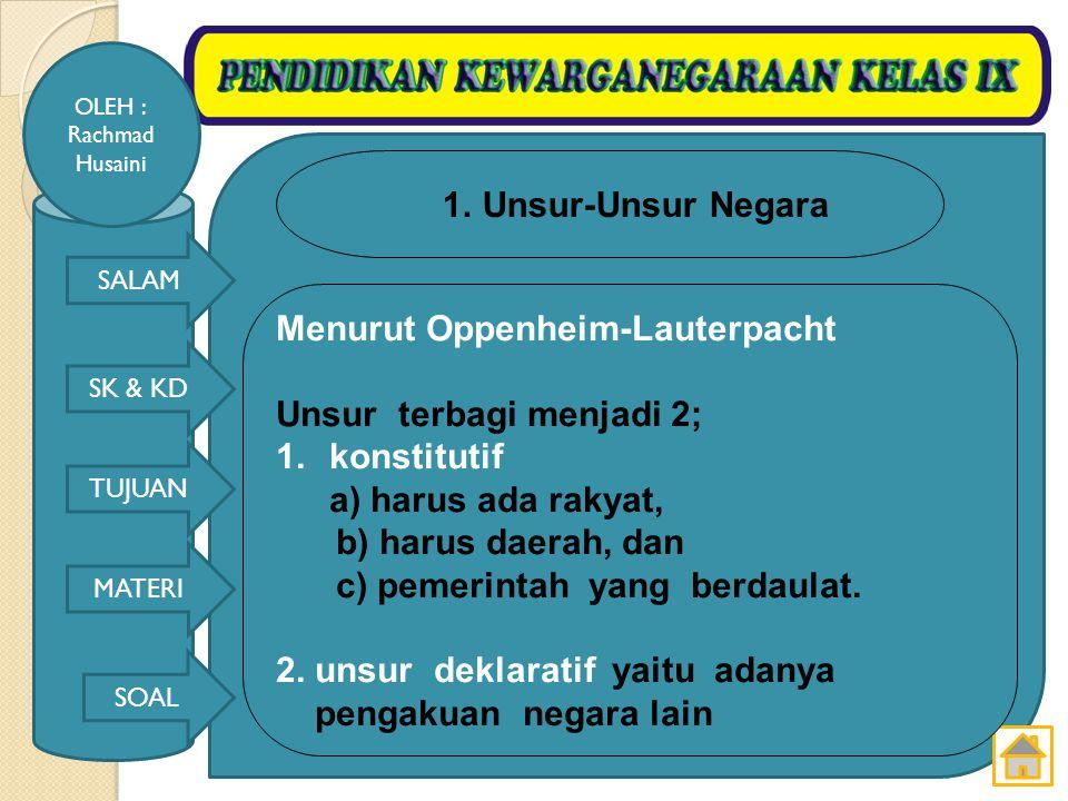 SALAM SK & KD TUJUAN MATERI SOAL OLEH : Rachmad Husaini Tujuan Negara Indonesia seperti yang tercantum Dalam Pembukaan UUD 1945 alinea 4 adalah: 1.