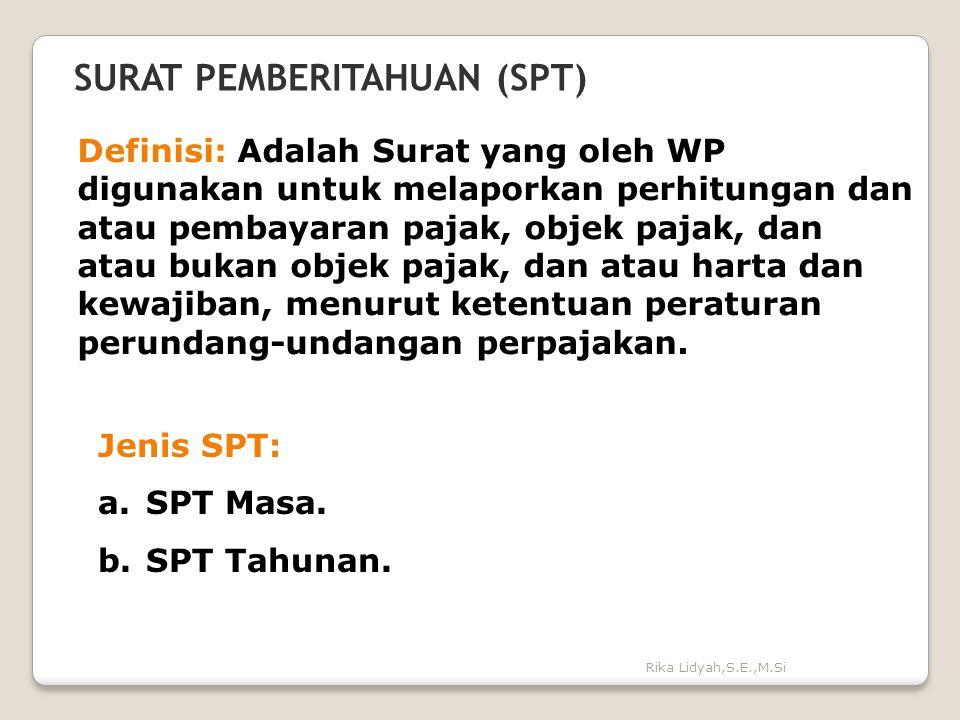 Rika Lidyah,S.E.,M.Si SURAT PEMBERITAHUAN (SPT) Definisi: Adalah Surat yang oleh WP digunakan untuk melaporkan perhitungan dan atau pembayaran pajak,