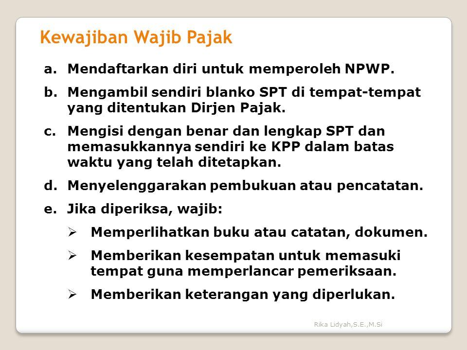 Rika Lidyah,S.E.,M.Si Kewajiban Wajib Pajak a.Mendaftarkan diri untuk memperoleh NPWP. b.Mengambil sendiri blanko SPT di tempat-tempat yang ditentukan
