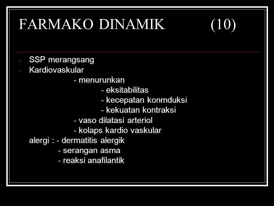 FARMAKO DINAMIK(10) - SSP merangsang - Kardiovaskular - menurunkan - eksitabilitas - kecepatan konmduksi - kekuatan kontraksi - vaso dilatasi arteriol