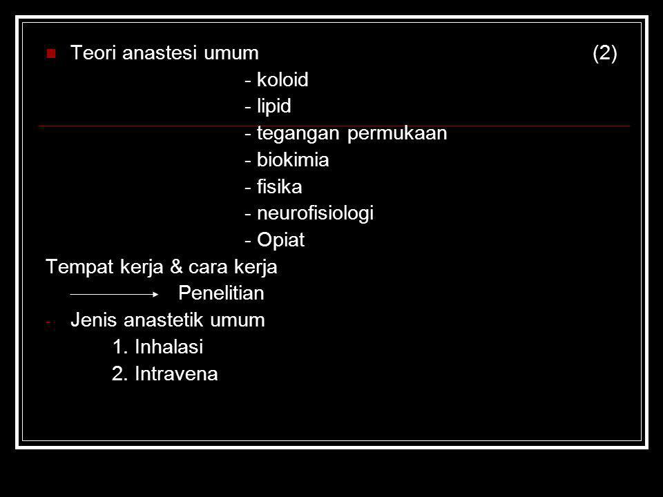Teori anastesi umum (2) - koloid - lipid - tegangan permukaan - biokimia - fisika - neurofisiologi - Opiat Tempat kerja & cara kerja Penelitian - Jeni