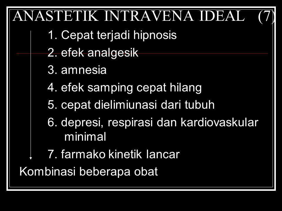 ANASTETIK INTRAVENA IDEAL (7) 1. Cepat terjadi hipnosis 2. efek analgesik 3. amnesia 4. efek samping cepat hilang 5. cepat dielimiunasi dari tubuh 6.