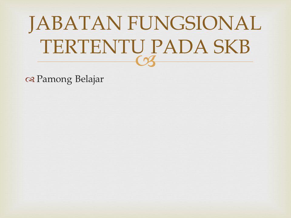   Pamong Belajar JABATAN FUNGSIONAL TERTENTU PADA SKB