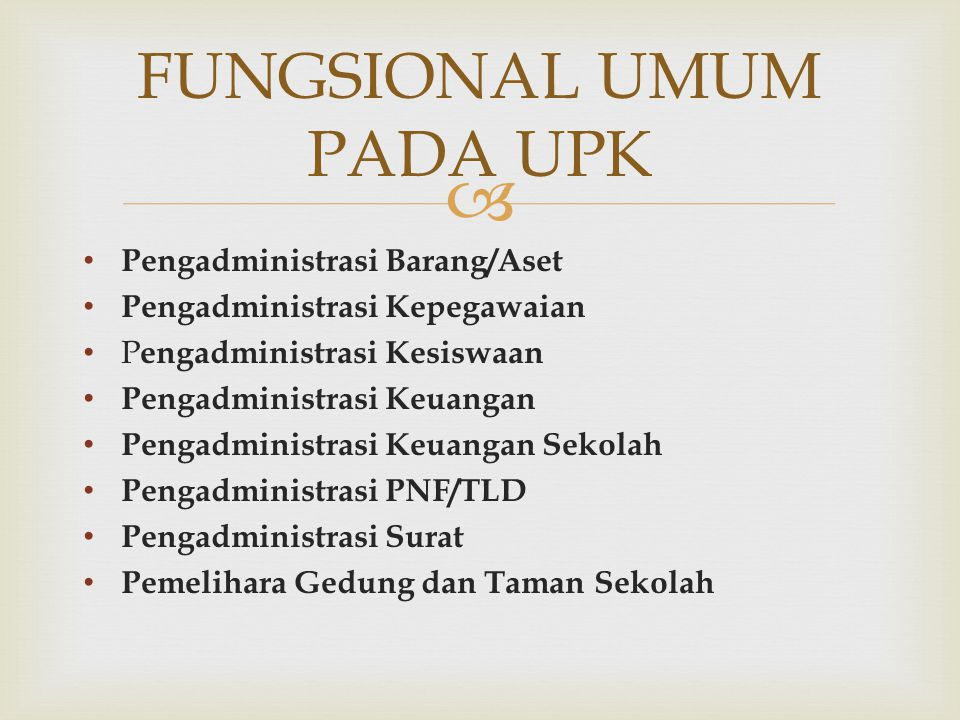 Pengadministrasi Barang/Aset Pengadministrasi Kepegawaian P engadministrasi Kesiswaan Pengadministrasi Keuangan Pengadministrasi Keuangan Sekolah Pe