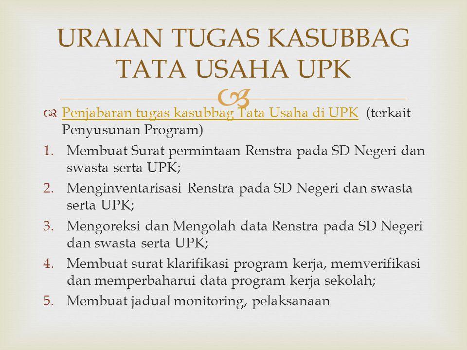   Penjabaran tugas kasubbag Tata Usaha di UPK (terkait Penyusunan Program) Penjabaran tugas kasubbag Tata Usaha di UPK 1.Membuat Surat permintaan Re