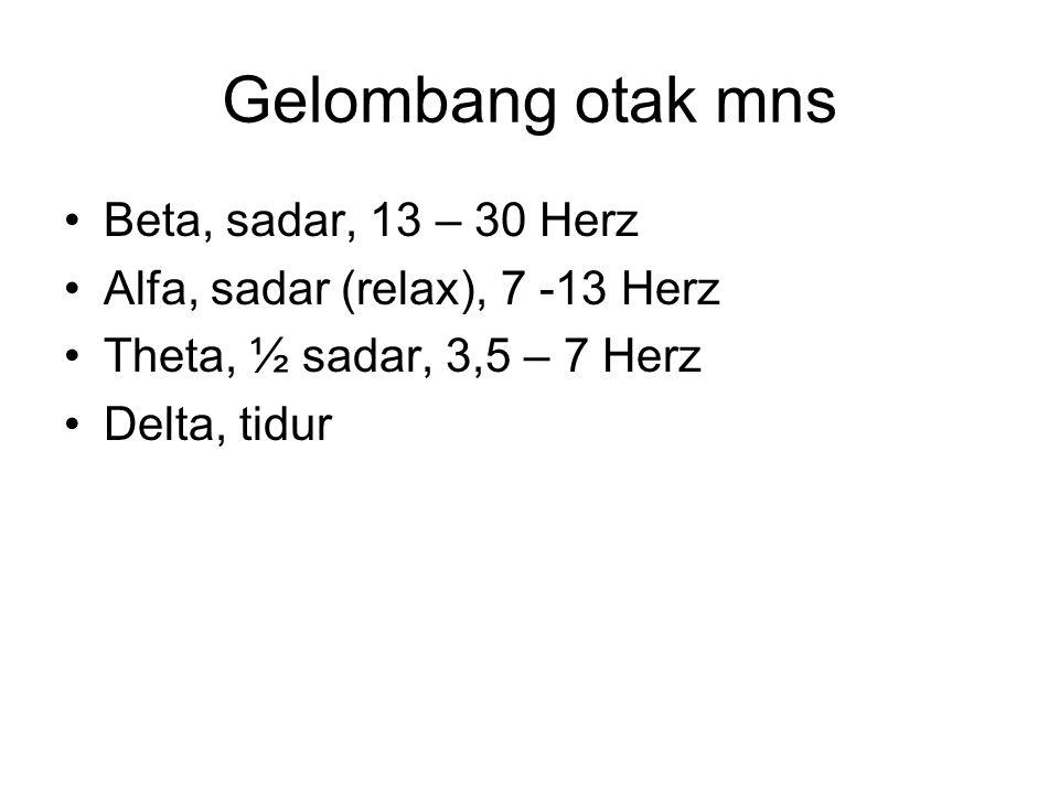 Gelombang otak mns Beta, sadar, 13 – 30 Herz Alfa, sadar (relax), 7 -13 Herz Theta, ½ sadar, 3,5 – 7 Herz Delta, tidur