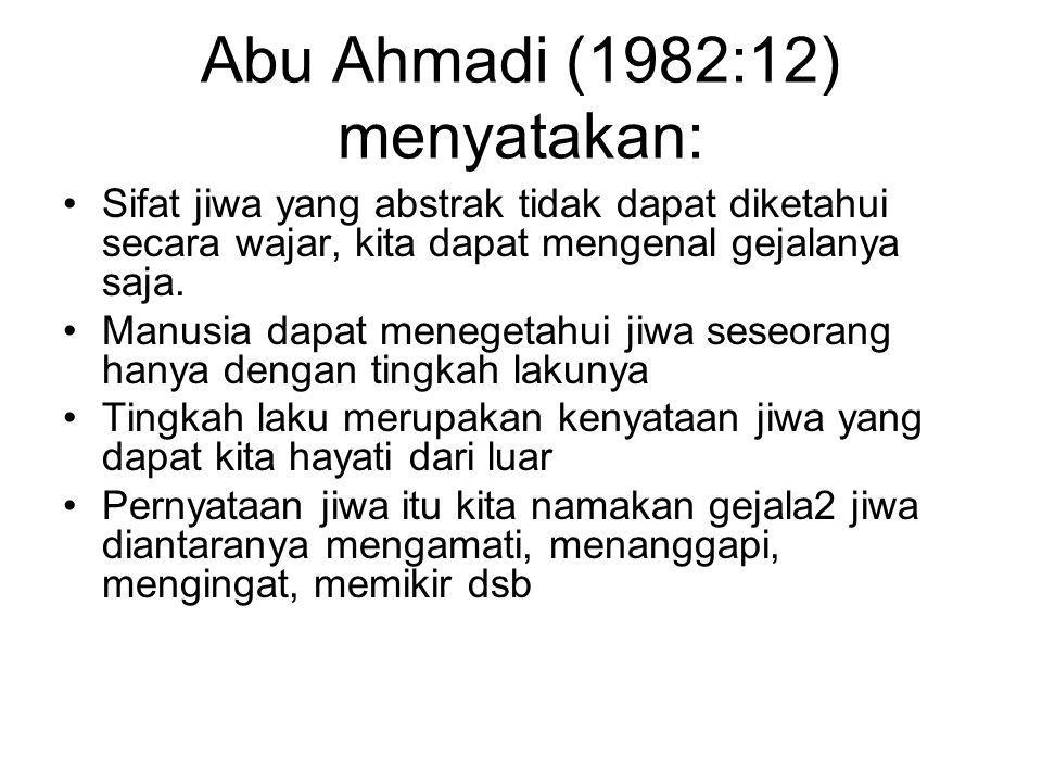 Abu Ahmadi (1982:12) menyatakan: Sifat jiwa yang abstrak tidak dapat diketahui secara wajar, kita dapat mengenal gejalanya saja.