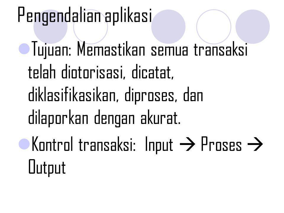 Pengendalian aplikasi Tujuan: Memastikan semua transaksi telah diotorisasi, dicatat, diklasifikasikan, diproses, dan dilaporkan dengan akurat. Kontrol