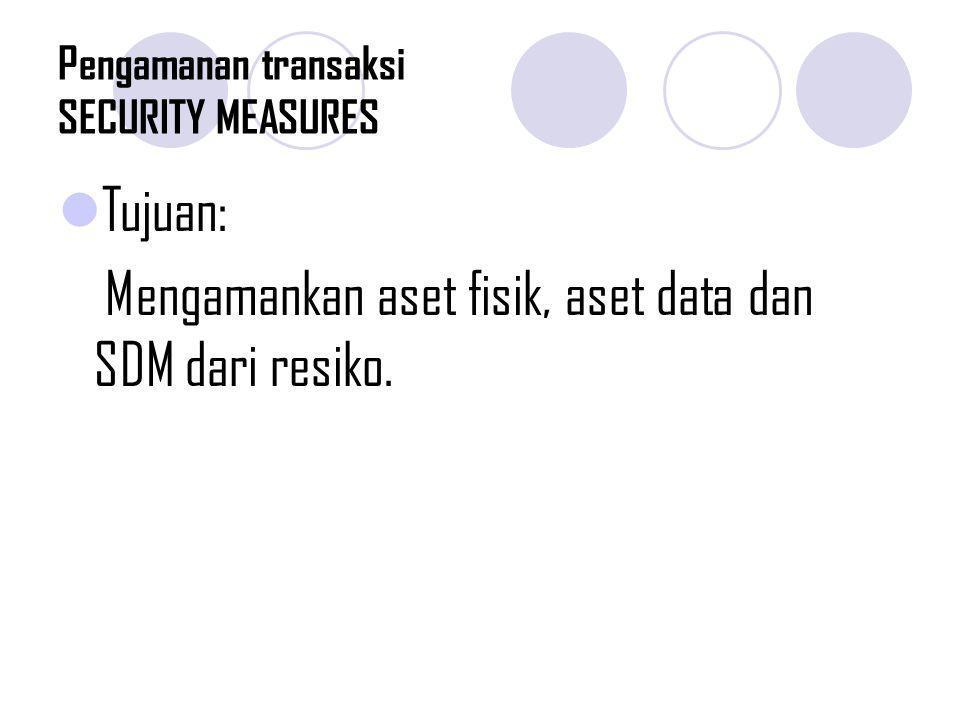 Pengamanan transaksi SECURITY MEASURES Tujuan: Mengamankan aset fisik, aset data dan SDM dari resiko.