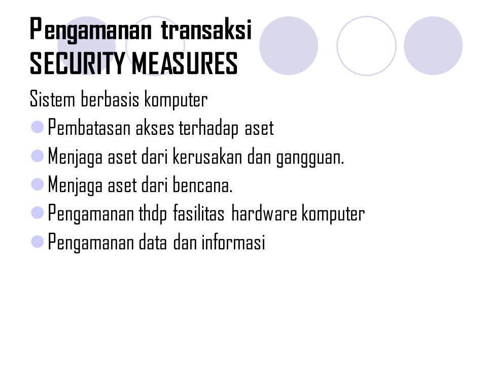 Pengamanan transaksi SECURITY MEASURES Sistem berbasis komputer Pembatasan akses terhadap aset Menjaga aset dari kerusakan dan gangguan. Menjaga aset