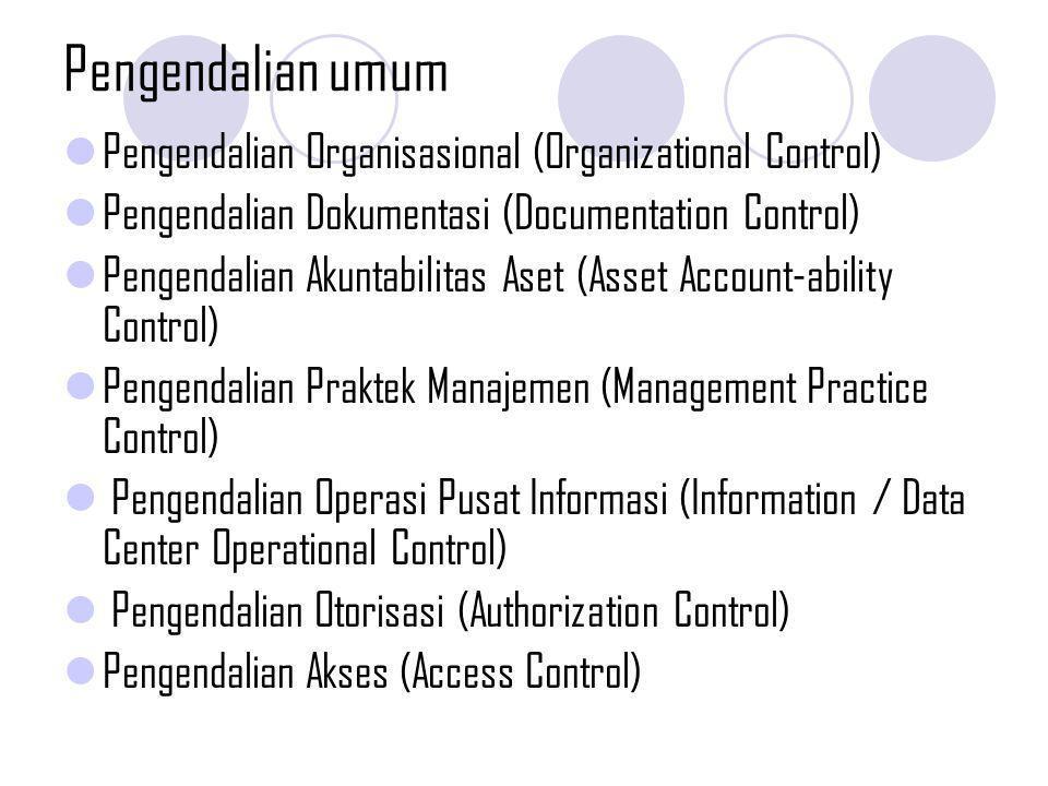 Pengendalian umum Pengendalian Organisasional (Organizational Control) Pengendalian Dokumentasi (Documentation Control) Pengendalian Akuntabilitas Ase