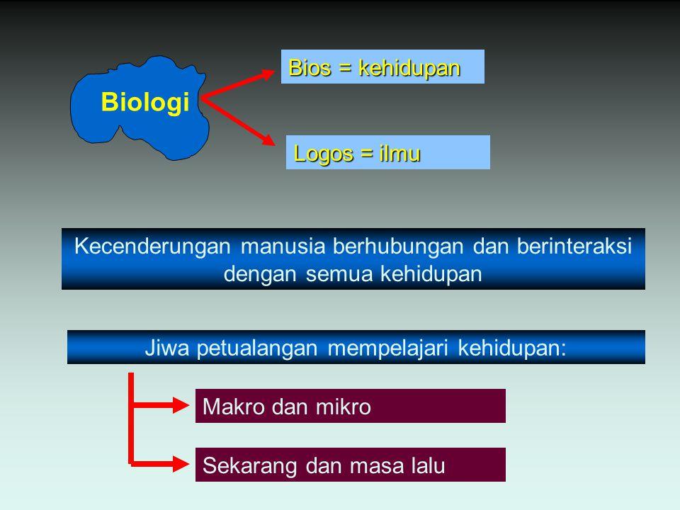 Biologi Bios = kehidupan Logos = ilmu Kecenderungan manusia berhubungan dan berinteraksi dengan semua kehidupan Jiwa petualangan mempelajari kehidupan: Makro dan mikro Sekarang dan masa lalu
