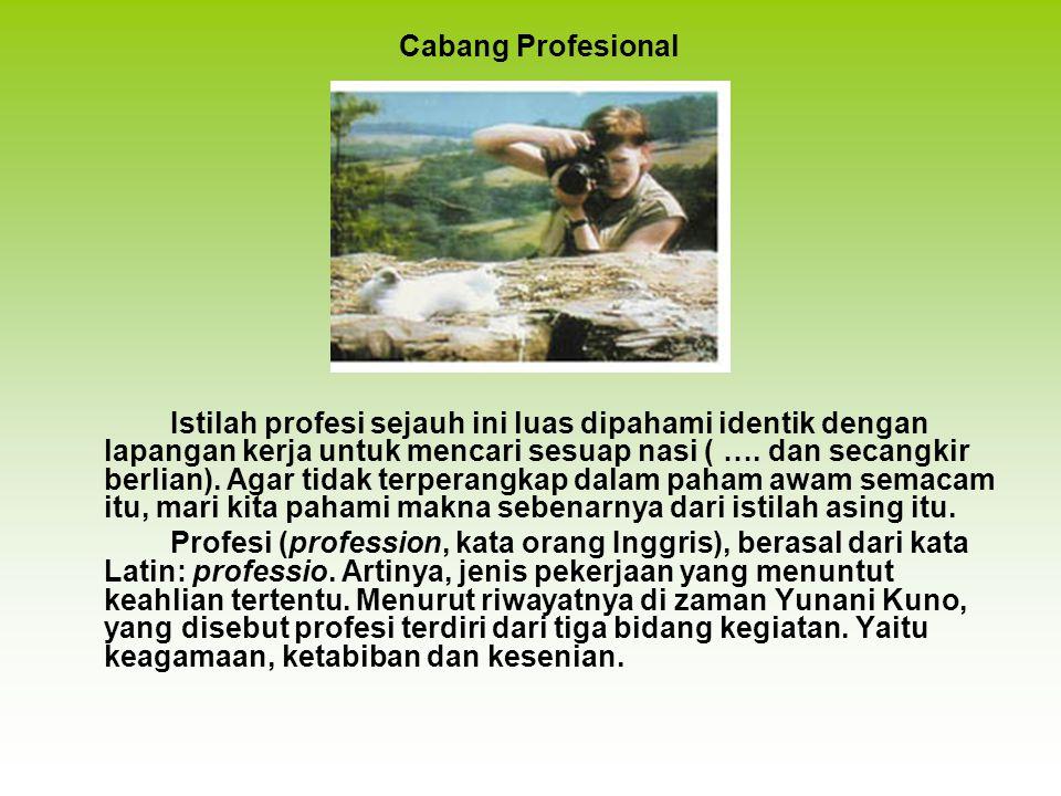Istilah profesi sejauh ini luas dipahami identik dengan lapangan kerja untuk mencari sesuap nasi ( ….