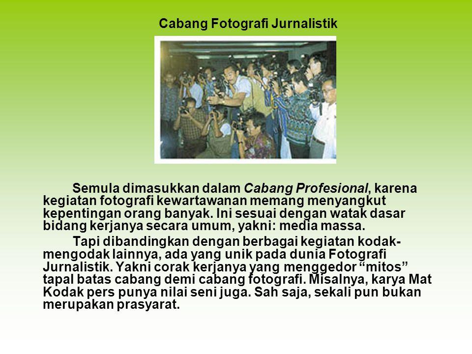 Semula dimasukkan dalam Cabang Profesional, karena kegiatan fotografi kewartawanan memang menyangkut kepentingan orang banyak.