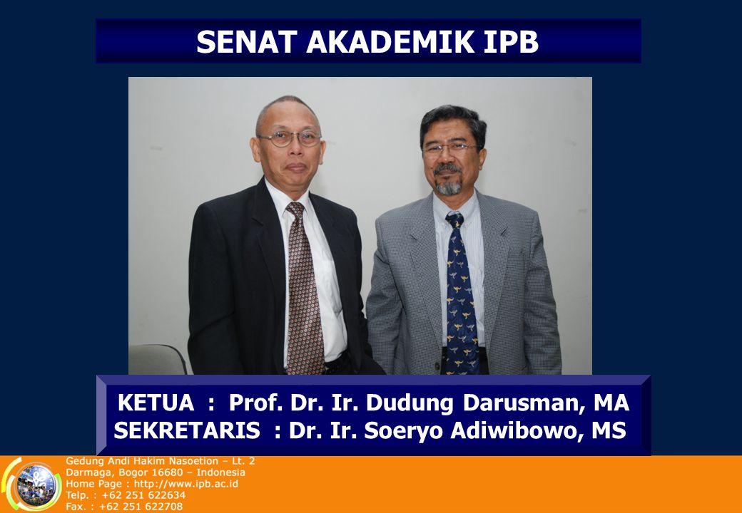 MAJELIS WALI AMANAT (MWA-IPB) KETUA Prof. Didik J. Rachbini WAKIL KETUA Dr. Ir. Ishartanto, SE, MMA SEKRETARIS Prof. Dr. Ir. Tridoyo Kusumastanto, MS