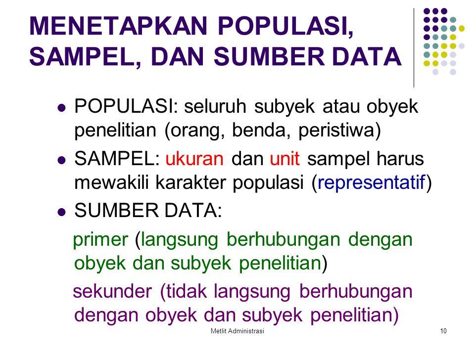 Metlit Administrasi10 MENETAPKAN POPULASI, SAMPEL, DAN SUMBER DATA POPULASI: seluruh subyek atau obyek penelitian (orang, benda, peristiwa) SAMPEL: uk
