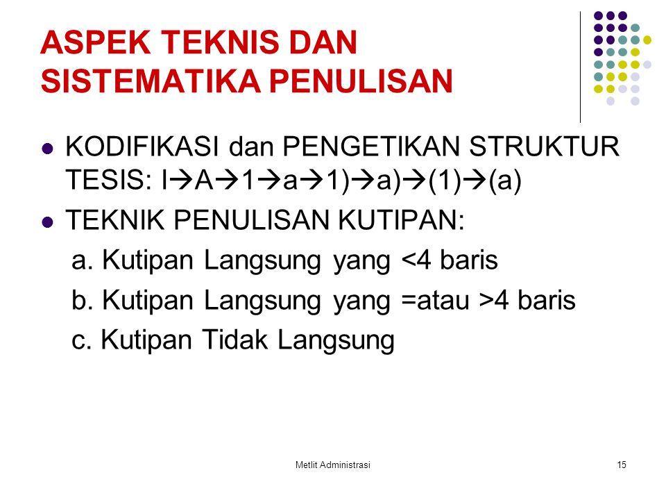 Metlit Administrasi15 ASPEK TEKNIS DAN SISTEMATIKA PENULISAN KODIFIKASI dan PENGETIKAN STRUKTUR TESIS: I  A  1  a  1)  a)  (1)  (a) TEKNIK PENU