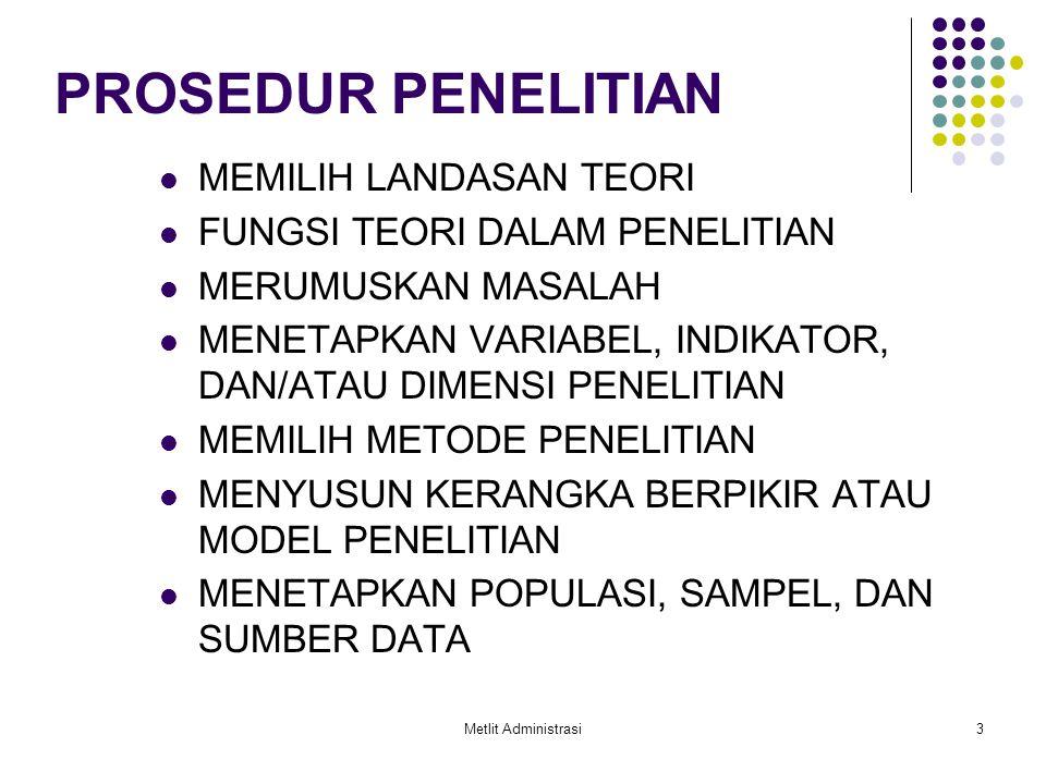 Metlit Administrasi3 PROSEDUR PENELITIAN MEMILIH LANDASAN TEORI FUNGSI TEORI DALAM PENELITIAN MERUMUSKAN MASALAH MENETAPKAN VARIABEL, INDIKATOR, DAN/A