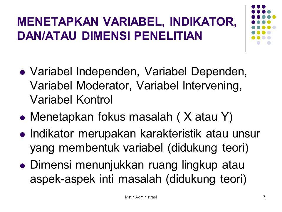 Metlit Administrasi7 MENETAPKAN VARIABEL, INDIKATOR, DAN/ATAU DIMENSI PENELITIAN Variabel Independen, Variabel Dependen, Variabel Moderator, Variabel