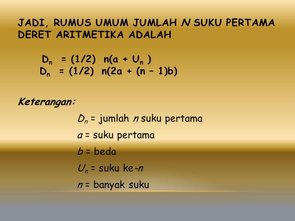JADI, RUMUS UMUM JUMLAH N SUKU PERTAMA DERET ARITMETIKA ADALAH Keterangan: D n = jumlah n suku pertama a = suku pertama b = beda U n = suku ke-n n = banyak suku D n = (1/2) n(a + U n ) D n = (1/2) n(2a + (n – 1)b)
