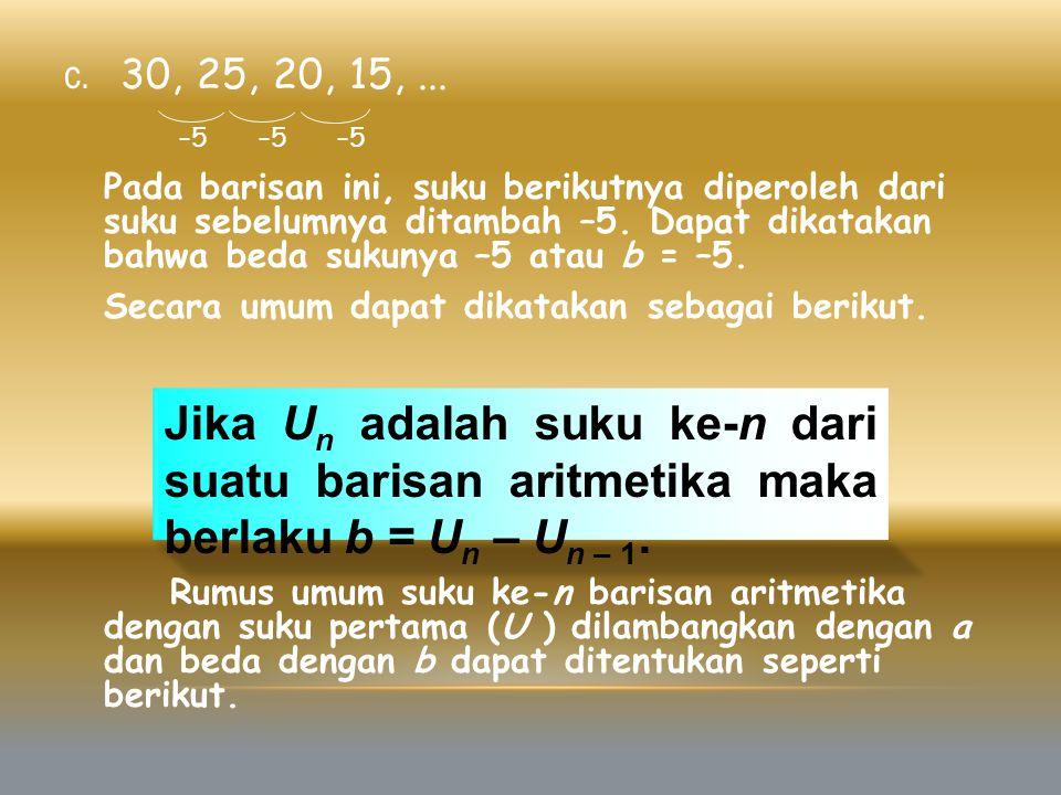 c. 30, 25, 20, 15,... –5 –5 –5 Pada barisan ini, suku berikutnya diperoleh dari suku sebelumnya ditambah –5. Dapat dikatakan bahwa beda sukunya –5 ata