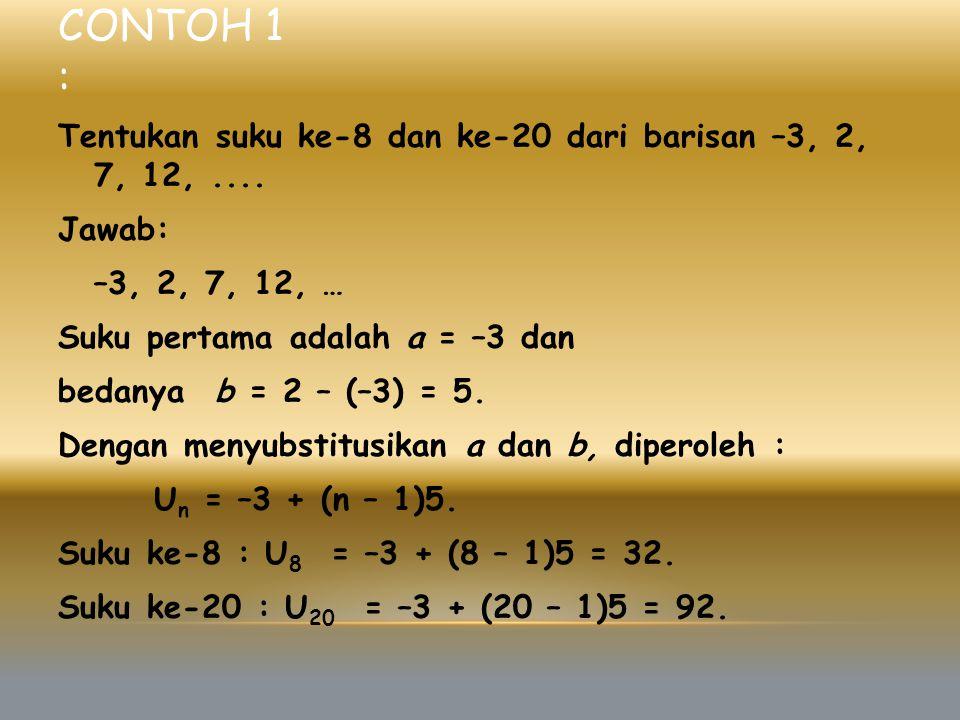 CONTOH 1 : Tentukan suku ke-8 dan ke-20 dari barisan –3, 2, 7, 12,.... Jawab: –3, 2, 7, 12, … Suku pertama adalah a = –3 dan bedanya b = 2 – (–3) = 5.