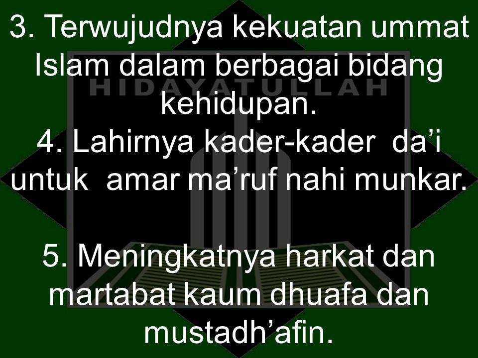 3. Terwujudnya kekuatan ummat Islam dalam berbagai bidang kehidupan. 4. Lahirnya kader-kader da'i untuk amar ma'ruf nahi munkar. 5. Meningkatnya harka