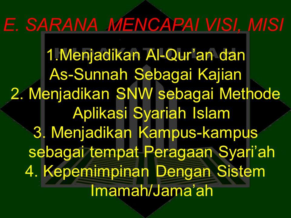 E. SARANA MENCAPAI VISI, MISI 1.Menjadikan Al-Qur'an dan As-Sunnah Sebagai Kajian 2. Menjadikan SNW sebagai Methode Aplikasi Syariah Islam 3. Menjadik