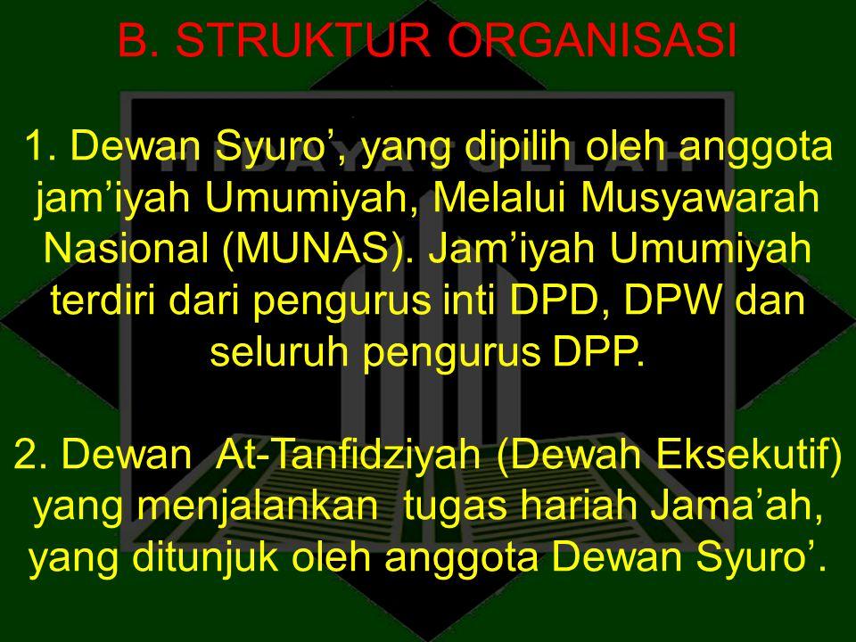 B. STRUKTUR ORGANISASI 1. Dewan Syuro', yang dipilih oleh anggota jam'iyah Umumiyah, Melalui Musyawarah Nasional (MUNAS). Jam'iyah Umumiyah terdiri da