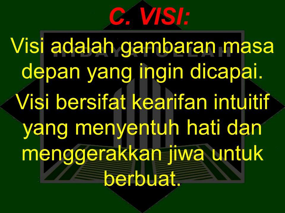C. VISI: Visi adalah gambaran masa depan yang ingin dicapai. Visi bersifat kearifan intuitif yang menyentuh hati dan menggerakkan jiwa untuk berbuat.