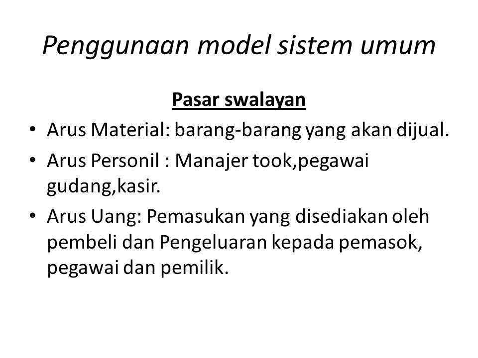 Penggunaan model sistem umum Pasar swalayan Arus Material: barang-barang yang akan dijual. Arus Personil : Manajer took,pegawai gudang,kasir. Arus Uan