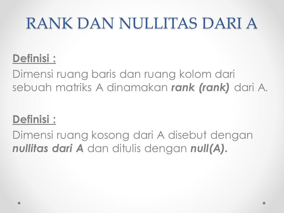 RANK DAN NULLITAS DARI A Definisi : Dimensi ruang baris dan ruang kolom dari sebuah matriks A dinamakan rank (rank) dari A. Definisi : Dimensi ruang k