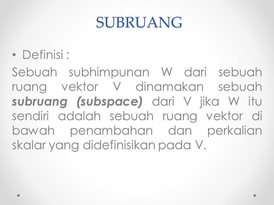 SUBRUANG Definisi : Sebuah subhimpunan W dari sebuah ruang vektor V dinamakan sebuah subruang (subspace) dari V jika W itu sendiri adalah sebuah ruang vektor di bawah penambahan dan perkalian skalar yang didefinisikan pada V.