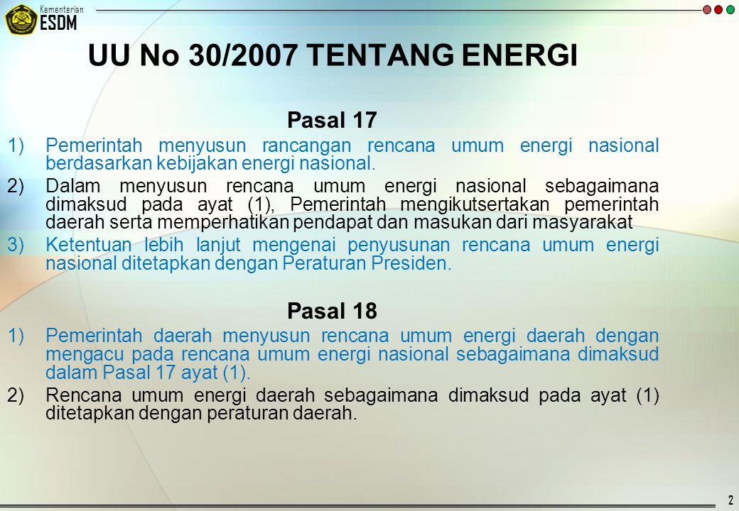 © 20092007 Kementerian ESDM RANAH LEGISLATIF RANAH EKSEKUTIF PENGELOLAAN ENERGI NASIONAL DEWAN ENERGI NASIONAL Rancangan Kebijakan Energi Nasional (KEN) (UU 30/2007, Pasal 12 ayat 2.a) Rencana Umum Energi Nasional (RUEN) (UU 30/2007, Pasal 12 ayat 2.b) KebijakanEnergi Nasional/ (KEN) (UU 30/2007, Pasal 11) PRESIDEN MENTERI ESDM Rencana Induk Konservasi Energi Nasional (RIKEN) (PP 70/2009 Pasal 3) Rencana Induk Konservasi Energi Nasional (RIKEN) (PP 70/2009 Pasal 3) Penyiapan Penetapan *) Konservasi Energi per Sektor Kegiatan : - Sektor Rumah Tangga - Sektor Komersial - Sektor Industri - Sektor Transportasi - Sektor Pembangkit tenaga Listrik ACUAN: 1.UUD 1945, Pasal 33 2.UU 30/2007 ttg Energi 3.UU 10/1997 ttg Ketenaganukliran 4.UU 27/2003 ttg Panas Bumi Penyiapan dan Penetapan Rencana Induk Rencana Induk Diversifikasi Energi (RIDEN) Rencana Induk Diversifikasi Energi (RIDEN) Diatur dengan : UU 30/2007 ttg Energi PP 70 /2009 ttg Konservasi Energi Roadmap per Klaster EBT Diatur dengan : UU 30/2007 ttg Energi RPP ttg Energi Baru dan Energi Terbarukan Diatur dengan : UU 30/2007 ttg Energi RPP ttg Energi Baru dan Energi Terbarukan Diatur dengan : UU 22/2001 ttg Migas UU 4/2009 ttg Mineral dan Batubara Rancangan Rencana Umum Energi Nasional (RUEN) (UU 30/2007, Pasal 17 ayat 1) 12 3 4 5 6 7 8 9 Policy Directives dari Presiden, dengan memperhatikan hal tersebut, KEN seharusnya Bernuansa Hijau (Green Energy) Penyiapan Pemanfaatan Energi Penyediaan Energi Listrik Industri Transportasi Komersial Rumah Tangga Rencana Induk Energi Konvensional/Fosil Roadmap per Klaster Energ iKonvensional Roadmap Rencana Aksi Konservasi Energi Sektoral *) Mengacu DPR