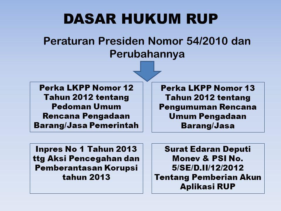 DASAR HUKUM PENGUMUMAN RUP Peraturan Presiden Nomor 54/2010 dan Perubahannya Pasal 1 4.
