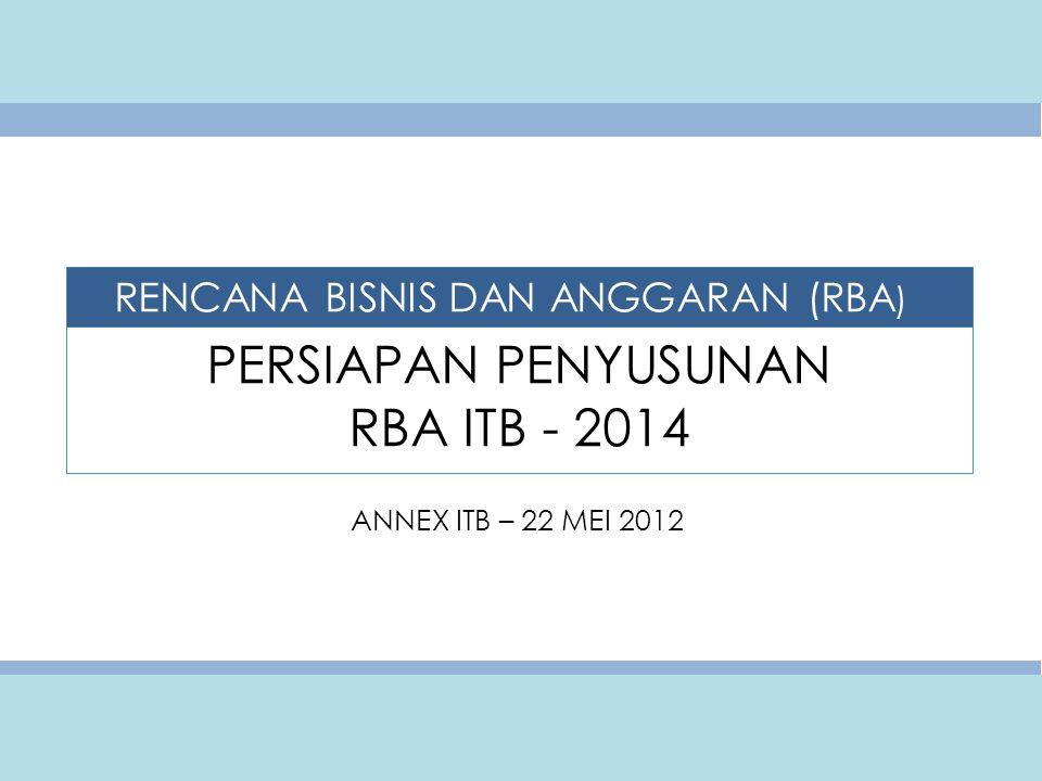 PERSIAPAN PENYUSUNAN RBA ITB - 2014 ANNEX ITB – 22 MEI 2012 RENCANA BISNIS DAN ANGGARAN (RBA )