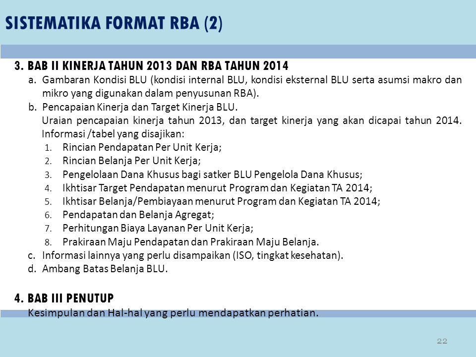 SISTEMATIKA FORMAT RBA (2) 3. BAB II KINERJA TAHUN 2013 DAN RBA TAHUN 2014 a.Gambaran Kondisi BLU (kondisi internal BLU, kondisi eksternal BLU serta a