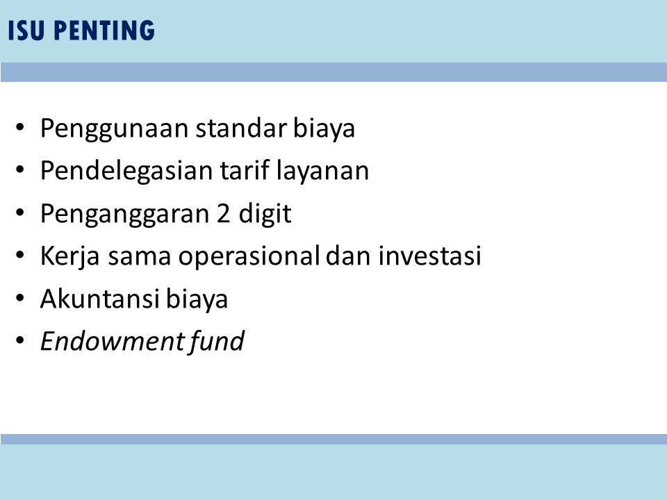 Penggunaan standar biaya Pendelegasian tarif layanan Penganggaran 2 digit Kerja sama operasional dan investasi Akuntansi biaya Endowment fund ISU PENT
